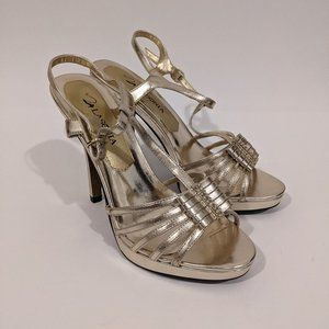 Strappy Gold Stilettos with Bow